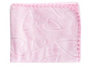 Dětská deka se srdíčky SURI růžová 80x90 cm Mybesthome