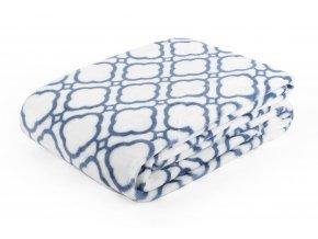 Deka z mikrovlákna MAROKO 150x200 cm bílá geometrický vzor Essex