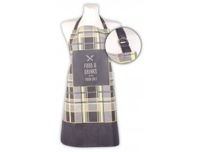 Kuchyňská bavlněná zástěra FOOD and DRINKS, šedá, Essex, 100% bavlna