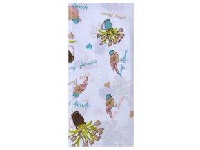 Utěrka SPRING FLOWERS, 100% bavlna, hnědá, 45x65 cm Essex