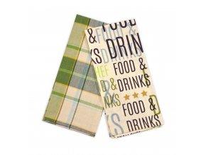 Utěrky FOOD AND DRINKS, 2 KUSY, 100% bavlna, zelená, 45x65 cm Essex