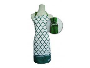 Kuchyňská bavlněná zástěra MAROKO, zelená, Essex, 100% bavlna