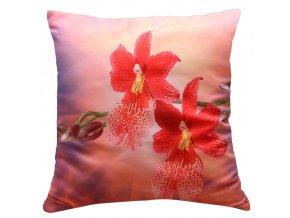 Polštář ČERVENÁ ORCHIDEJ MyBestHome 40x40cm fototisk 3D motiv červená orchidej