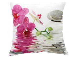 Polštář RŮŽOVÁ ORCHIDEJ MyBestHome 40x40cm fototisk 3D motiv růžová orchidej