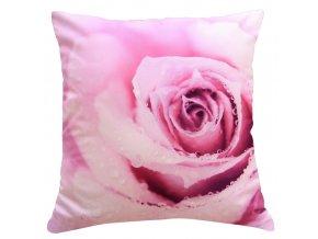 Polštář RŮŽE MyBestHome 40x40cm fototisk 3D motiv růžové růže