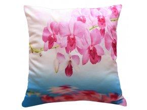Polštář RŮŽOVÁ ORCHIDEJ NA VĚTVIČCE MyBestHome 40x40cm fototisk 3D motiv růžová orchidej  na větvičce