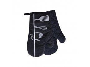 Kuchyňské bavlněné rukavice chňapky CHEF, černá, 100% bavlna 18x30 cm Essex