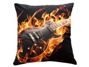 Polštář HOŘÍCÍ KYTARA MyBestHome 40x40cm fototisk 3D motiv hořící kytary