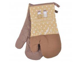 Kuchyňské bavlněné rukavice chňapky PEPŘ A SŮL, béžová, 18x30 cm , 100% BAVLNA Essex