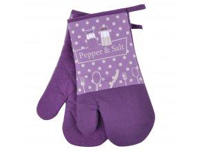 Kuchyňské bavlněné rukavice chňapky PEPŘ A SŮL, fialová, 18x30 cm , 100% BAVLNA Essex