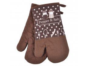 Kuchyňské bavlněné rukavice chňapky PEPŘ A SŮL, hnědá, 18x30 cm , 100% BAVLNA Essex