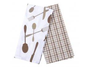 Utěrka PEPŘ A SŮL, 2 kusy 100% bavlna, béžová, 45x65 cm Essex