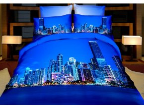 Povlečení BLUE CITY 3D set 3 ks, 140x200 cm, 2x povlak 70x80 cm MyBestHome