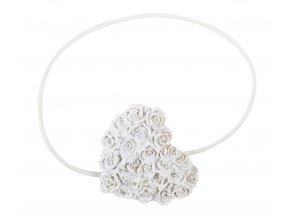 Dekorační ozdobná spona na závěsy s magnetem HEART, bílá, 7x6 cm Mybesthome