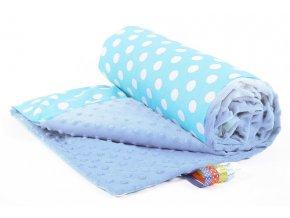 Dětská deka PUNTINI modrá/modrá bavlna s minky, 50x75 cm Mybesthome