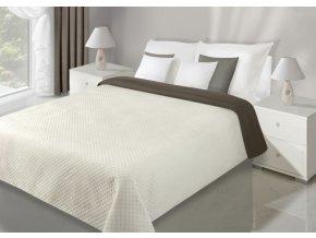 Přehoz na postel VELVET 220x240 cm krémová/hnědá Mybesthome