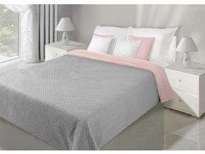Přehoz na postel VELVET 220x240 cm stříbrná/starorůžová Mybesthome