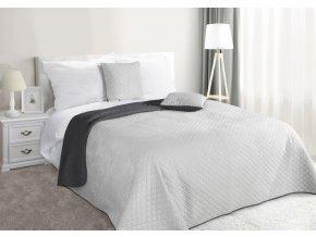 Přehoz na postel CARMEN 220x240 cm stříbrná/tmavě šedá Mybesthome