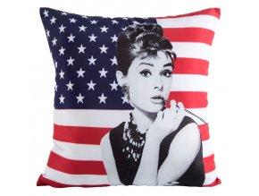 Polštář AUDREY IN USA 45x45cm MyBestHome motiv Audrey Hepburn