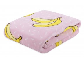 Deka z mikrovlákna TROPICAL 150x200 cm růžová vzor banán Essex