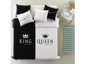 Přehoz na postel KING AND QUEEN 220x240 cm černá/bílá Mybesthome