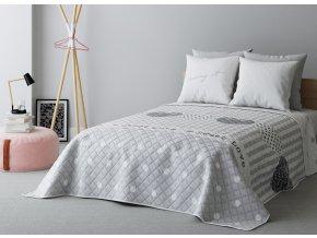 Přehoz na postel SWEET LOVE 200x220 cm šedá ESSEX
