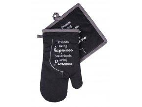 Kuchyňská rukavice/chňapka PROSECO, motiv A, 18x30 cm/20X20 cm ESSEX, 100% bavlna