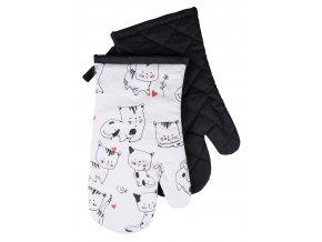 Kuchyňské bavlněné rukavice chňapky CATS, bílá, 100% bavlna 18x30 cm Essex