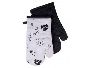 Kuchyňské bavlněné rukavice chňapky CATS, šedá, 100% bavlna 18x30 cm Essex