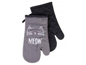 Kuchyňské bavlněné rukavice chňapky CATS, černá, 100% bavlna 18x30 cm Essex
