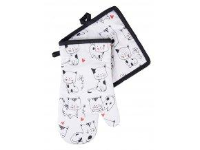 Kuchyňská rukavice/chňapka CATS, bílá, 18x30 cm/20X20 cm ESSEX, 100% bavlna