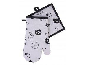 Kuchyňská rukavice/chňapka CATS, šedá, 18x30 cm/20X20 cm ESSEX, 100% bavlna