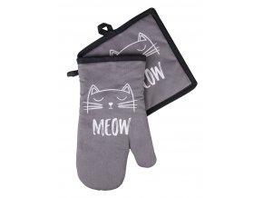 Kuchyňská rukavice/chňapka CATS, černá, 18x30 cm/20X20 cm ESSEX, 100% bavlna