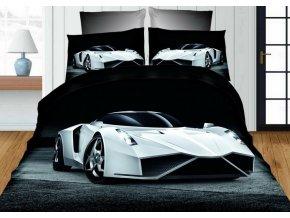 Povlečení 3D WHITE CAR set 3 ks, francouzské povlečení, 1x 200x220 cm, 2x 70x80 cm MyBestHome