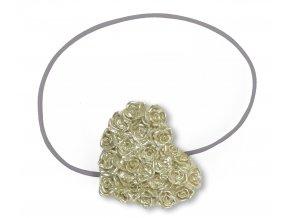 Dekorační ozdobná spona na závěsy s magnetem HEART, zlatá, 7x6 cm Mybesthome