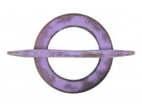 Dekorační ozdobná spona na záclony z přírodního dřeva ARTO Ø 10 cm, fialová, Mybesthome