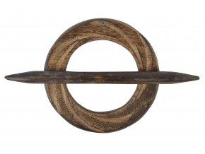 Dekorační ozdobná spona na záclony z přírodního dřeva AURA Ø 10 cm, hnědá, Mybesthome