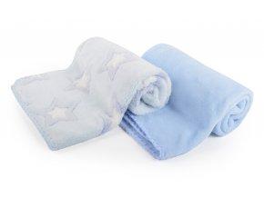 Dětská deka set 2 kusy DIEGO modrá hvězdičky 80x90 cm mikrovlákno Mybesthome
