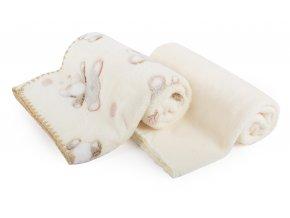 Dětská deka set 2 kusy DIEGO smetanová medvídci 80x90 cm mikrovlákno Mybesthome