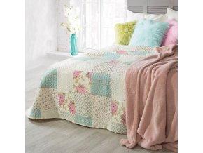 Přehoz na postel JORGE 220x240 cm mátová/krémová/růžová Mybesthome