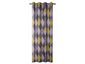 Dekorační vzorovaná záclona TABLERO šedá/žlutá 140x250 cm MyBestHome