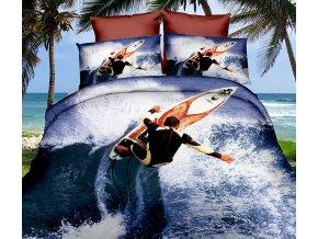 Povlečení 3D SURFING set 3 ks, 140x200 cm, 2x povlak 70x80 cm MyBestHome