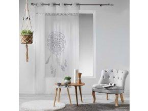 Dekorační záclona LAPAČ SNŮ se vzorem s kroužky 140x240 cm MyBestHome