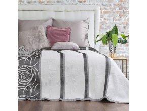 Přehoz na postel ROBERTA 220x240 cm bílá/stříbrná Mybesthome