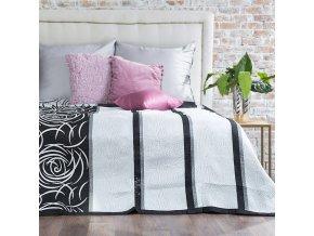 Přehoz na postel ROBERTA 220x240 cm stříbrná/černá Mybesthome