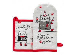Kuchyňský set rukavice/chňapka MASMOMIAUK, 14x30 cm/20X20 cm HOME & YOU, 100% bavlna