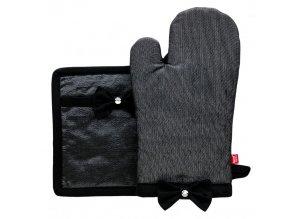 Kuchyňská rukavice/chňapka BLACKY, 18x30 cm/20X20 cm HOME & YOU, 100% bavlna