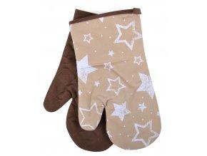Kuchyňské rukavice chňapky STARS, béžová 18x30 cm Essex