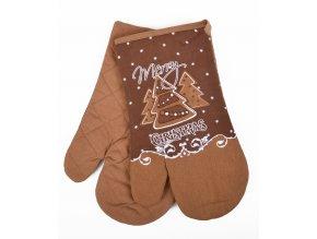 Kuchyňské rukavice chňapky MERRY CHRISTMAS, hnědá 18x30 cm Essex