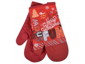 Kuchyňské rukavice chňapky CHRISTMAS JOY motiv B, červená 18x30 cm Essex